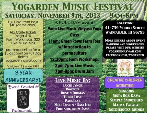 Activities for all the family @ Yogarden Music Festival this weekend.