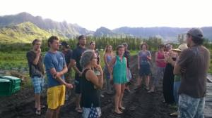 Students on a site visit to MA'O Farms.